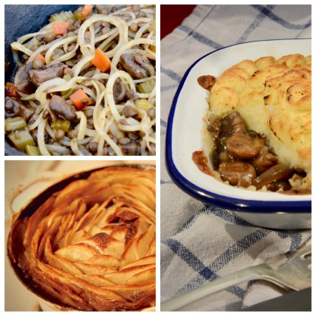 Lentils + Mushrooms + Potatoes collage of casserole with rosette topping, potato bolognaise and shepherd(less) Pie