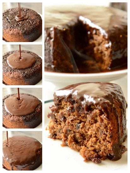 A collage of the sticky date pudding cake. On the left is a sequence showing the whisky sauce being poured over the cake. On the right a slice of sticky date pudding cake doused in whisky chocolate sauce on a plate, presented in front of the cake place on a pedestal