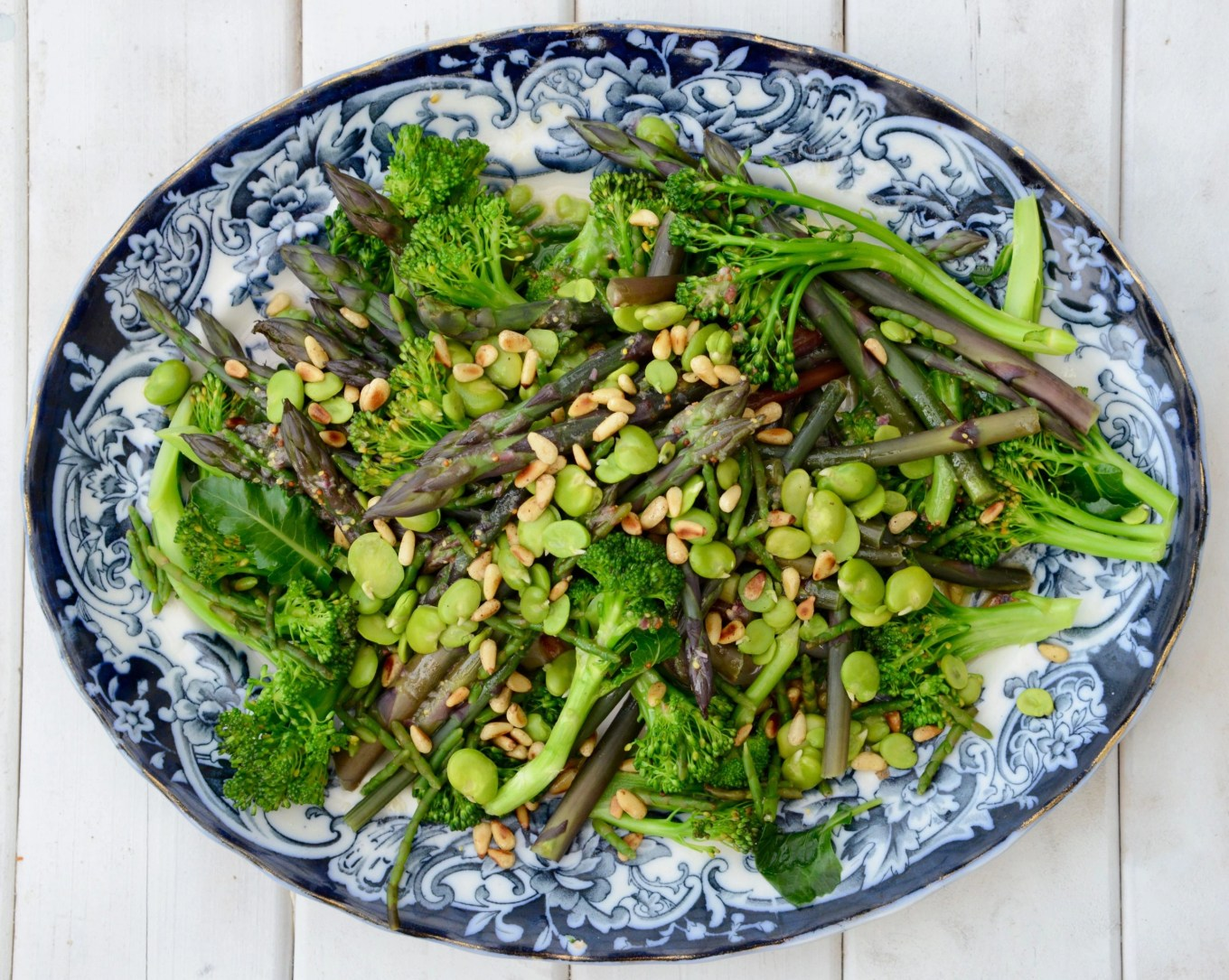 Spring green vegetables with lemon shallot dressing