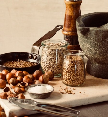 the ingredients and equipment for making sesame free dukkah