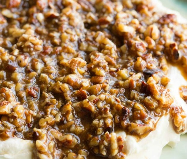French Quarter Pecan Cheese Spread Recipe Seasoned Cream Cheese Is Topped With Pecans In A