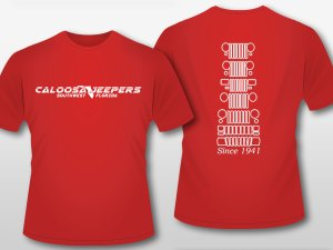 Caloosa Jeepers Mens Red Grills Tshirt Short Sleeves