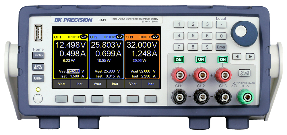 B&K Precision 9141 Triple-Output Multi-Range DC Power Supply, 60V, 4A