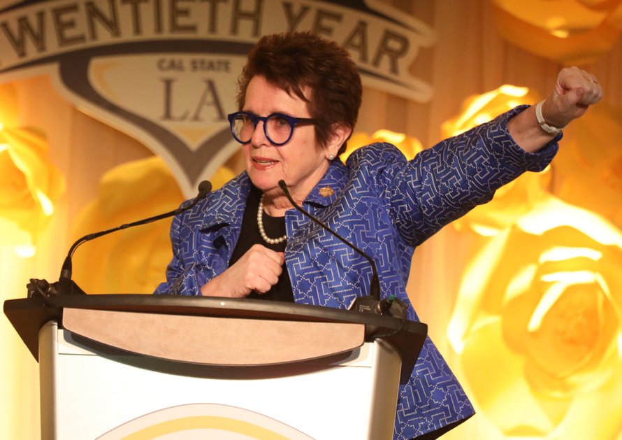Billie Jean King speaking at the 20th Annual Billie Jean King & Friends Gala