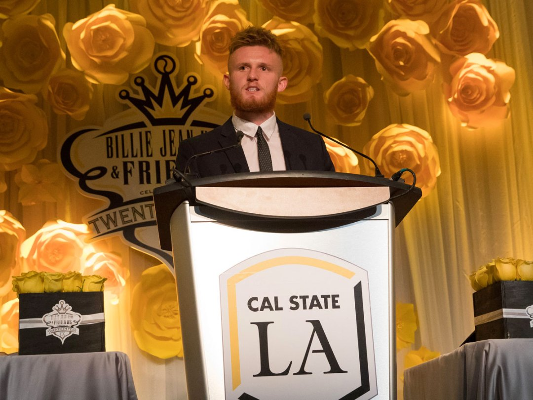 Sam Croucher accepting the Billie Jean King Scholarship at the 20th Billie Jean King & Friends Gala