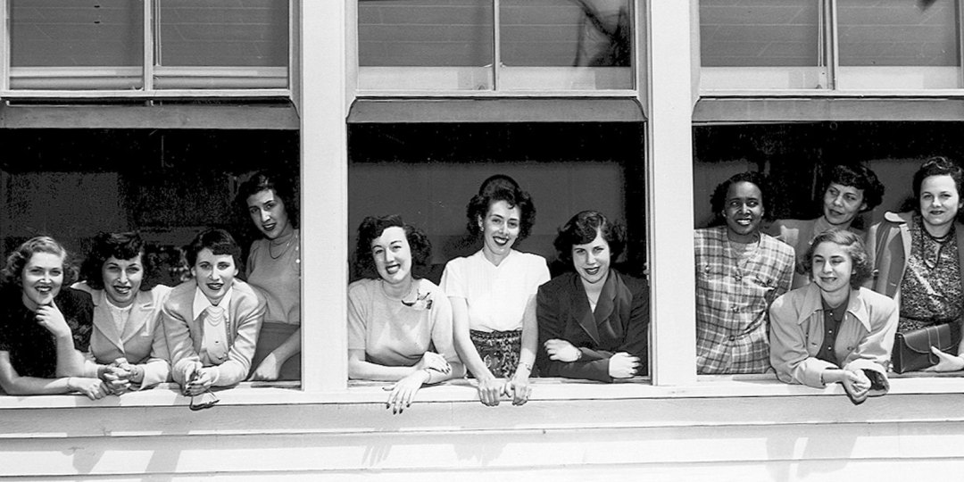 """Lead photo: Los Angeles State College, Sorority, Circa 1955. Image courtesy of Cal State LA Special Collections & Archives """"Pictures of Our Past"""" Collection."""
