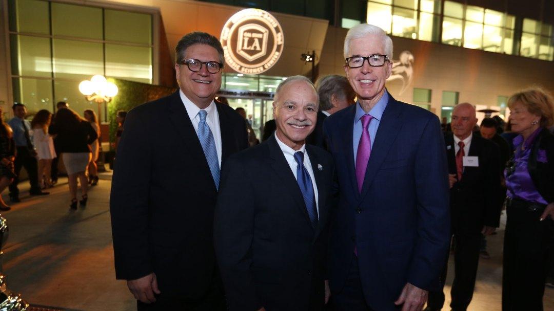Cal State LA President William Covino (center) with State Sen. Robert M. Hertzberg (left) and former Gov. Gray Davis (right).