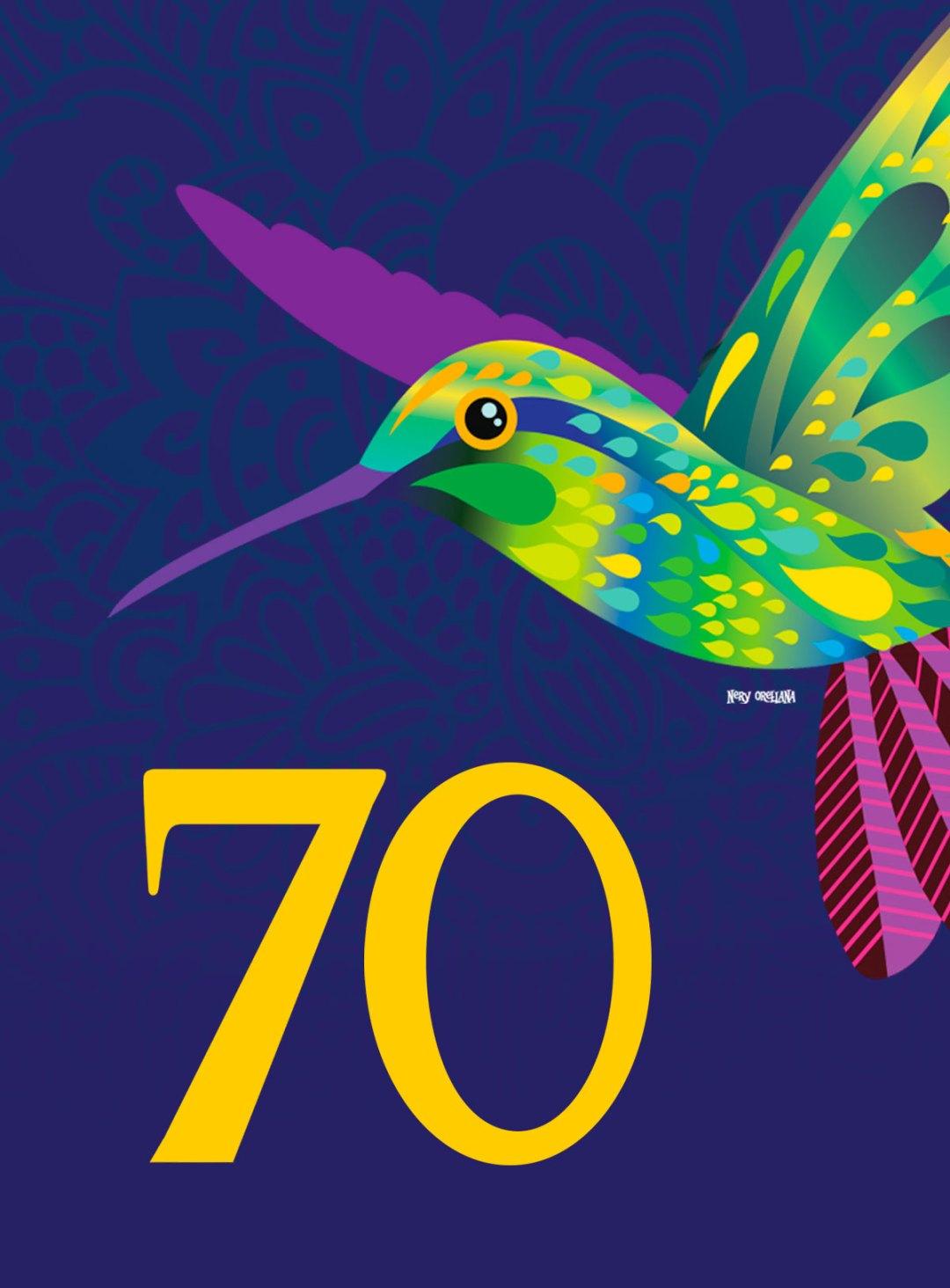 70th Anniversary (Setenta) album cover humming bird.