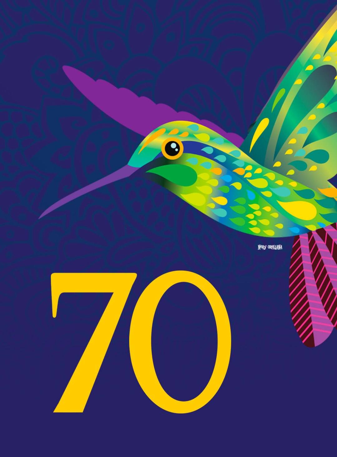 70th Anniversary (Setenta) album cover humming bird.