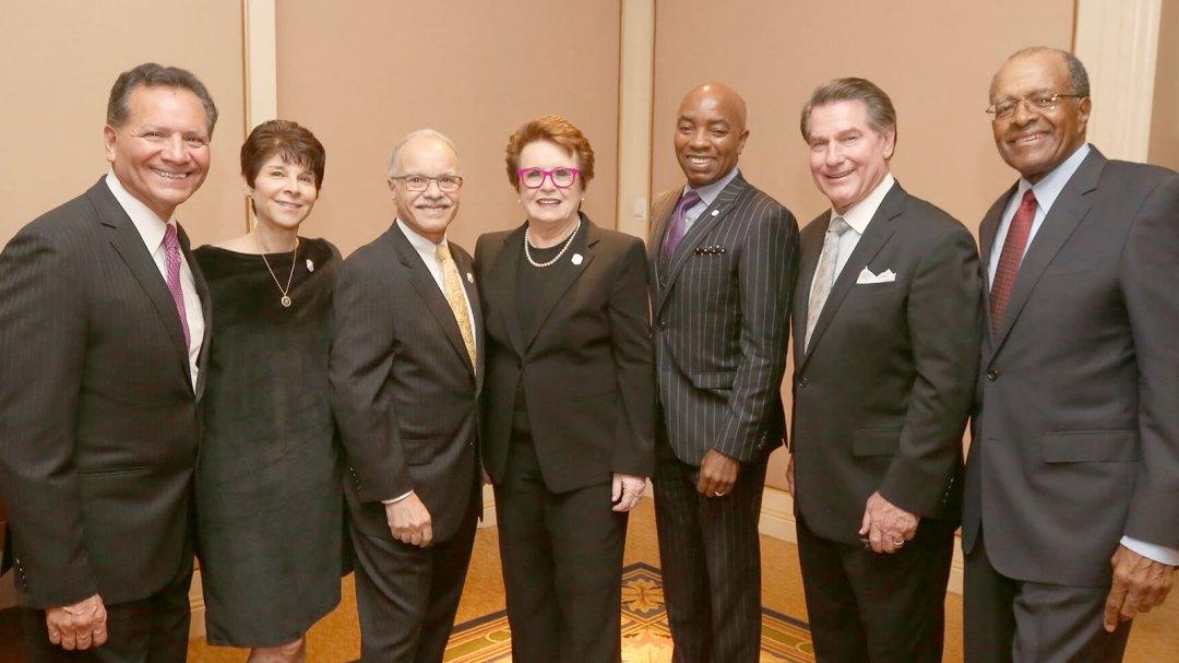 Billie Jean King with president Covino