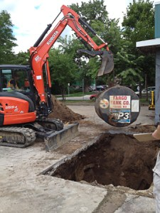 Used Oil underground tank Being Removed From closed Service Station