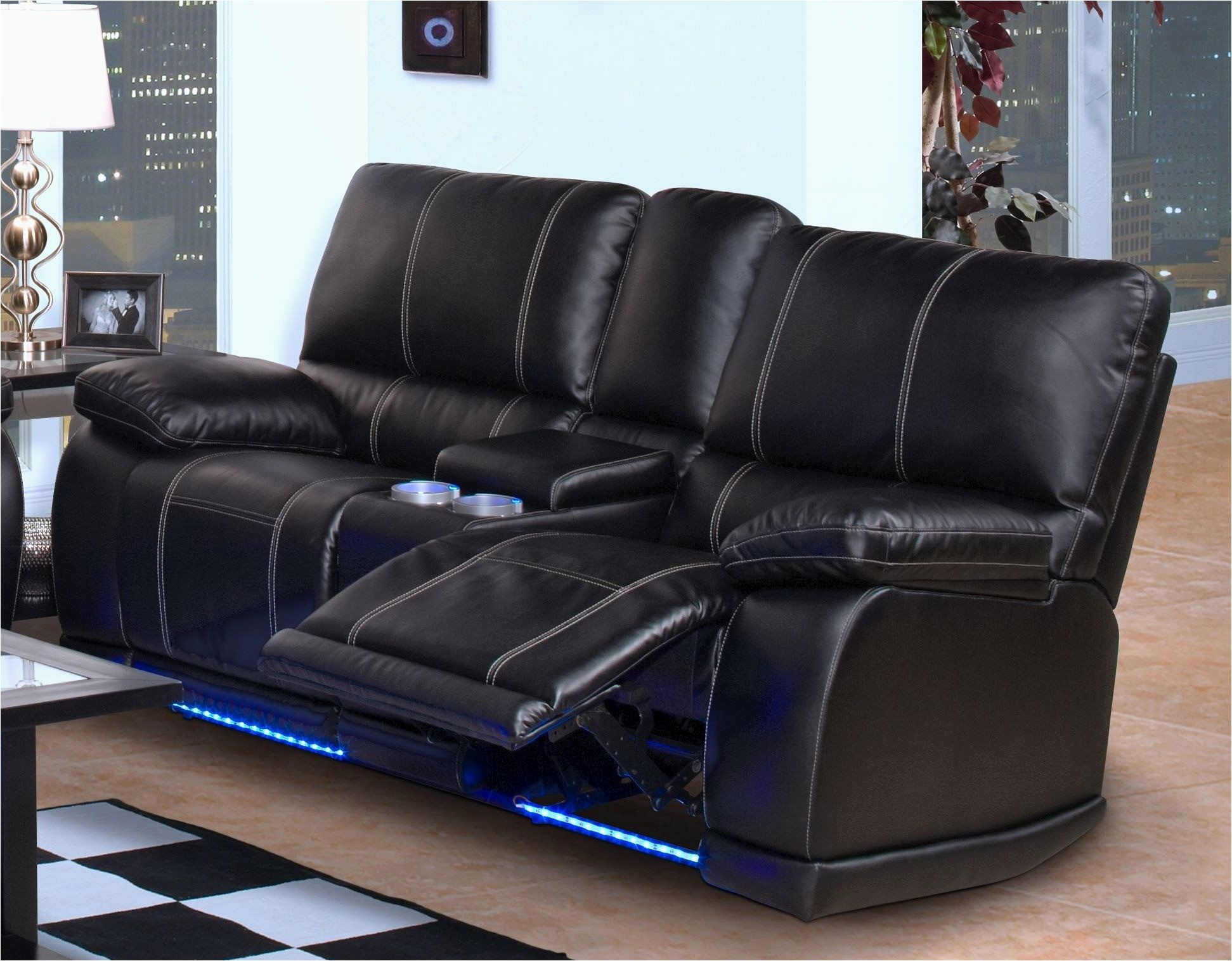 Leather Sectional Recliner Sofa With Cup Holders