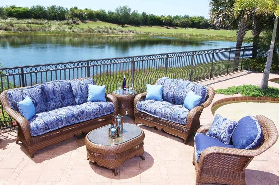 Outdoor Furniture With Blue Cushions
