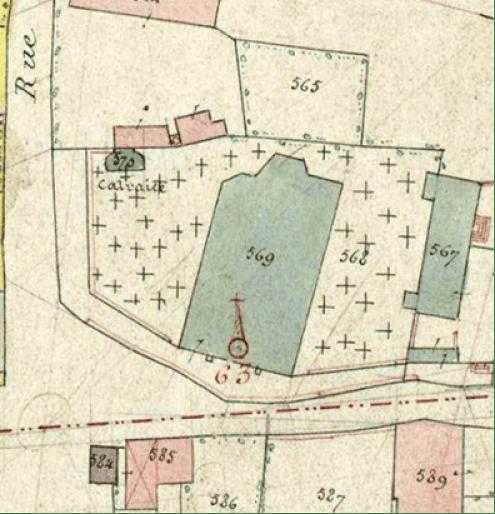 Cadastre de 1895 Parcelle n° 570 ADN P 31 /795 (calvaire communal en 1895)