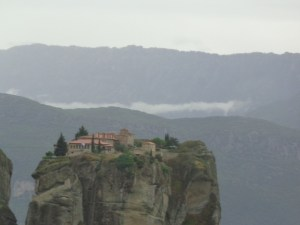 """One of the highlights of the trip was the Monasteries at Meteora. Here the monks built these impressive monasteries on top of these sheer cliffs. If you are a James Bond fan you will recognize this particular one as being from the movie """"For your Eyes Only""""."""