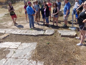 """This is the Erastus inscription in Corinth where Erastus the city-treasurer dedicates a road to the citizens of Corinth. Romans 16:23 (Paul is writing from Corinth) """"Gaius, who is host to me and the whole church, greets you. Erastus the city treasurer, and our brother Quartus, greet you."""""""