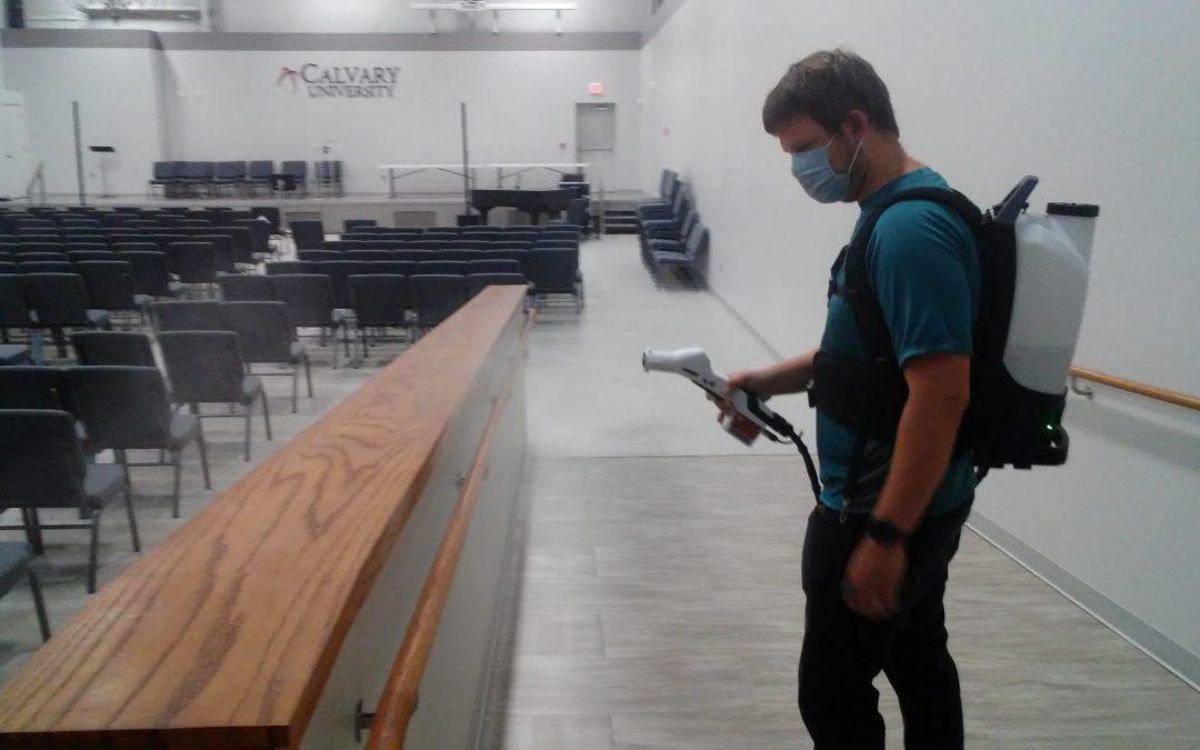 Calvary Uses Sprayer to Keep Campus Germ-Free