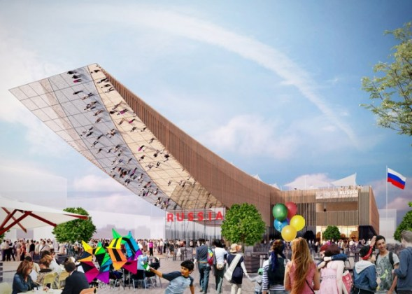 Architect designs 30 metre long canopy for Russia s Milan Expo     Russian born German architect Sergei Tchoban has designed a 30 metre long  cantilevered canopy for Russia s 2015 Milan Expo pavilion  whose theme this  year