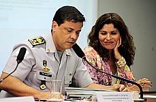 Dep. Lilian Sá (relatora), Érika Kokay (presidente), coronel Suamy da Silva (comandante-geral da PMDF) e Luísa de Marilac (promotora de justiça do MPDF)