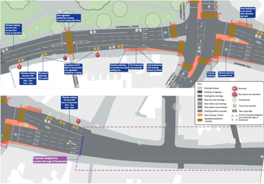 Map of proposed changes to Camberwell Road
