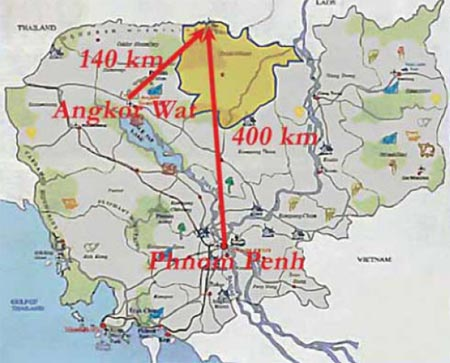Map of Present Day Cambodia Courtesy: Official Map by the Royal Government of Cambodia Submitted to UNESCO for Preah VihearWorld Heritage List