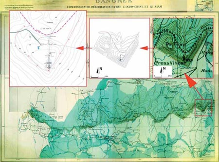 Area of the Temple of Preah Vihear in the Dangrek Range of Mountains (Extrapolation from the map recognized by the International Court of Justice, 15 June 1962) Courtesy: Official Map by the Royal Government of Cambodia submitted to UNESCO for Preah VihearWorld Heritage List