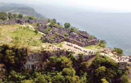 Aerial View of Preah Vihear Hanging Over a Cliff On Cambodia Territory (Courtesy: Official Photo by the Royal Government of Cambodia Submitted to UNESCO for Preah VihearWorld Heritage List)