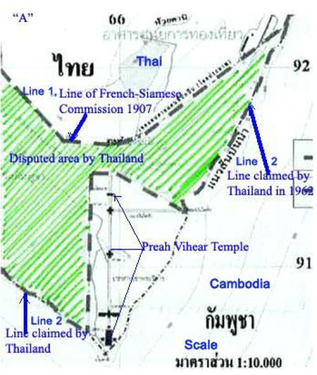 Thai Internal Working Document – The Official Thai Map (Scale 1:10,000) Courtesy Bora Touch. Notes in blue and green Colors added by Bora Touch for clarity