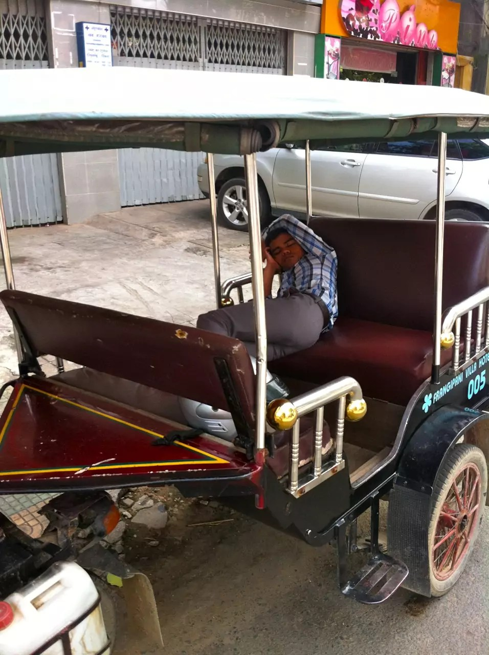 Cambodian Moments Another Sleeping Tuk Tuk  Driver