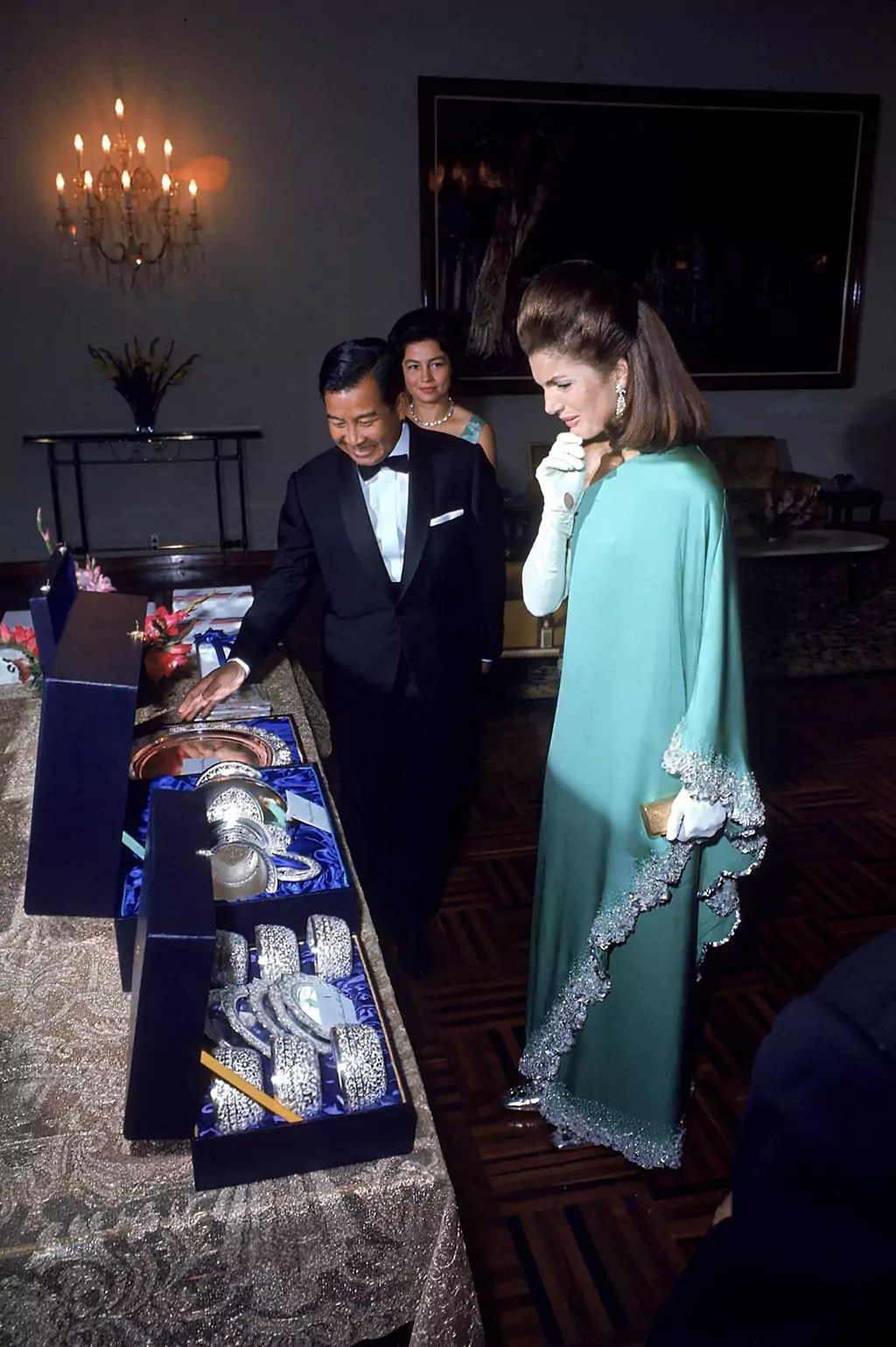 Jackie Kennedy with Prince Norodom Sihanouk and his wife Monique