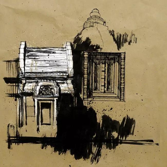 Blasco – Pen, Ink and Charcoal Drawings Of Angkor Wat 03