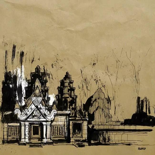 Blasco – Pen, Ink and Charcoal Drawings Of Angkor Wat 04