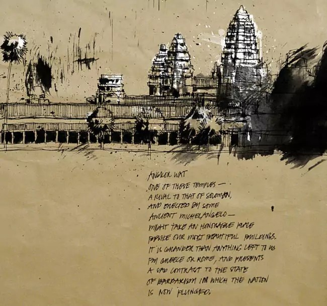 Blasco – Pen, Ink and Charcoal Drawings Of Angkor Wat 05