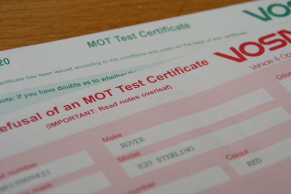 mot failure certificate