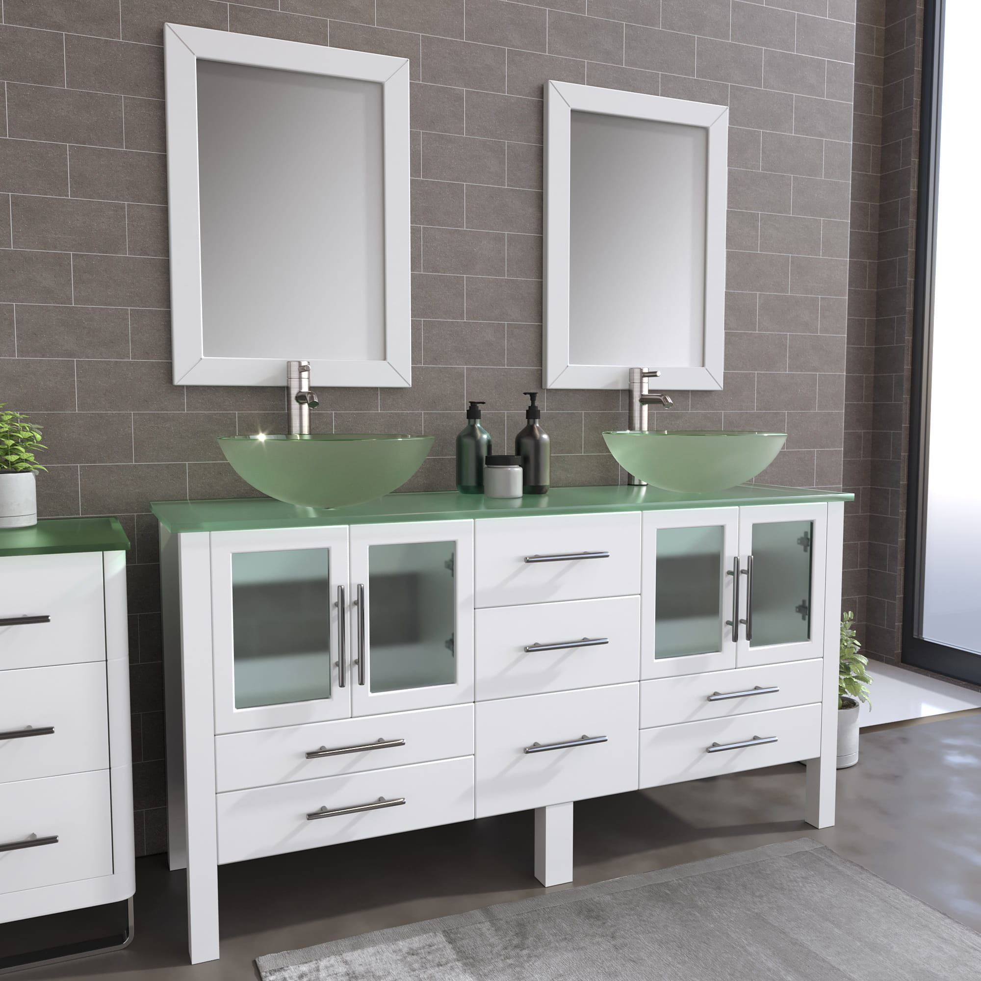 63 inch solid wood vanity with frosted