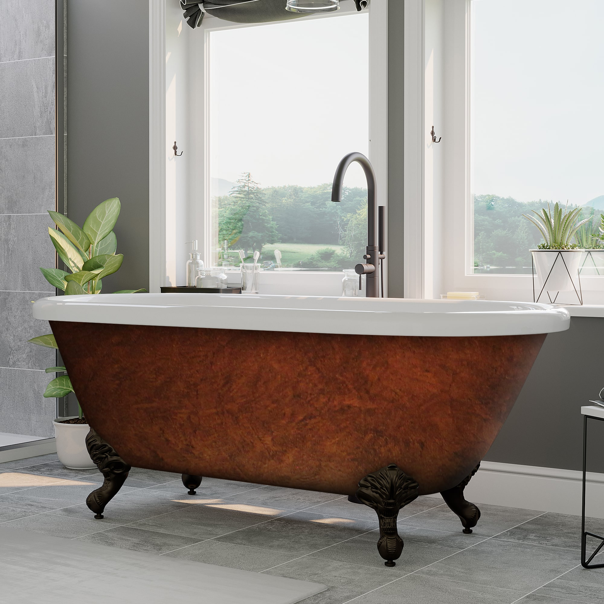 acrylic double ended clawfoot tub faux