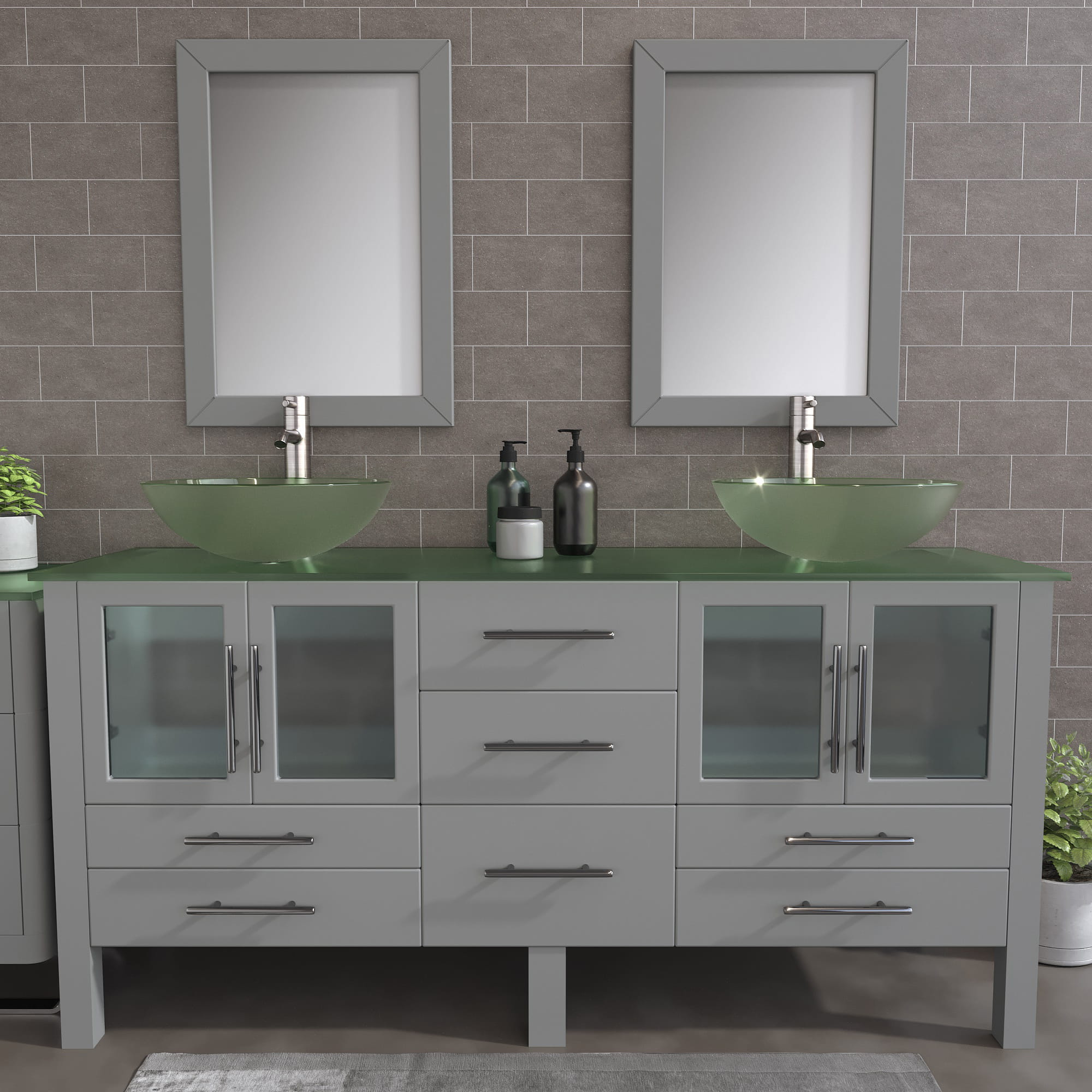 glass vessel sink double vanity set