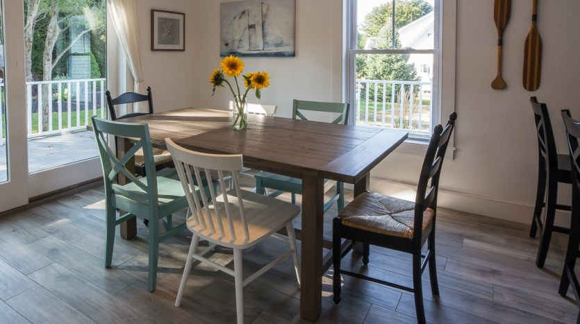 Dining area and sliding doors to porch