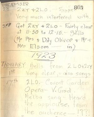 A page from Taylor's Wireless Log and Minutes Book. Photograph © British Library