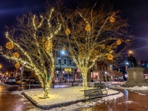 Longfellow Square, Portland Maine decorated for Christmas.