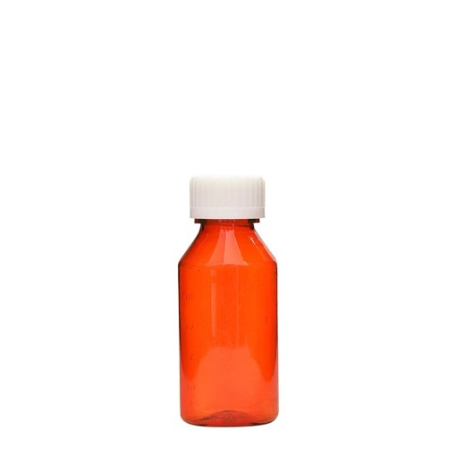 Amber Graduated Oval RX Bottles with CR Caps 3 oz