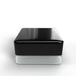 9ml Square Glass Jar Clear - Black Cap