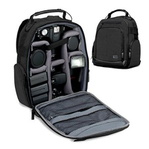 89c0e0625cb USA GEAR Portable Camera Backpack for DSLR/SLR (Black) w/Customizable  Accessory Dividers, Weather Resistant Bottom, Comfortable Back Support –  Compatible ...
