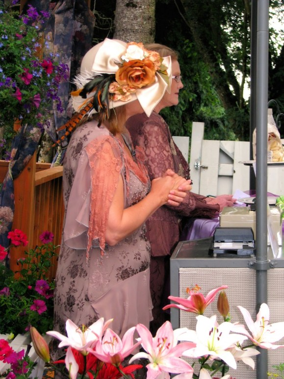 Women artist dressed up for the Lavender Festival, photography by Lorelle VanFossen
