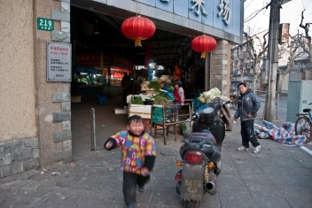 children at a local market in the French Concession, Shanghai