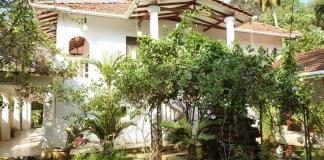 The villa in the tropical garden, French Lotus, Unawatuna, Sri Lanka.