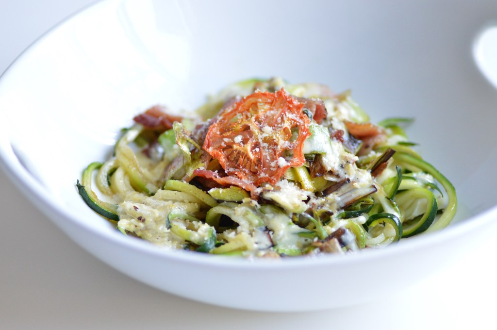 Zucchini Noodles with Leeks and Bacon