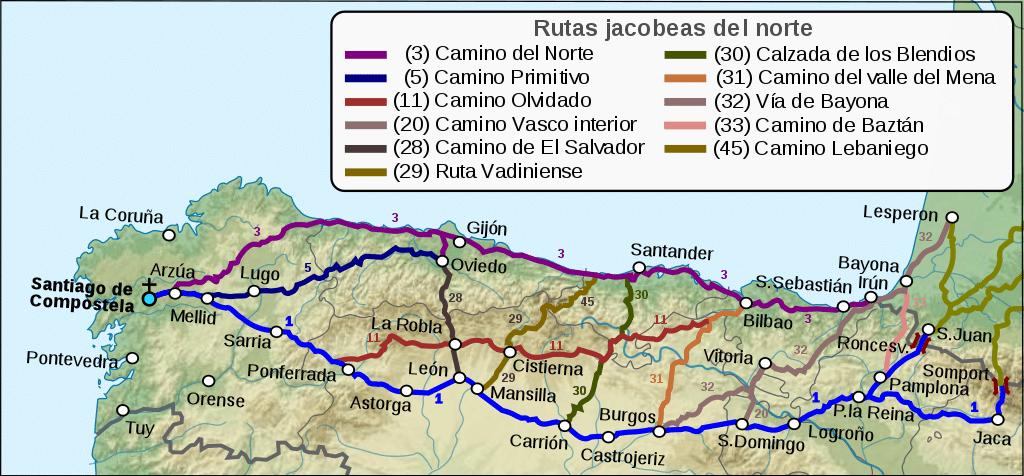 Carte des routes jacobines du nord