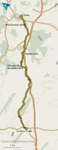 Estella to Los Arcos Map