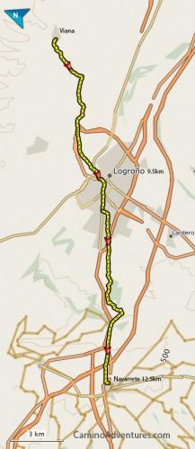 Viana to Navarrete map